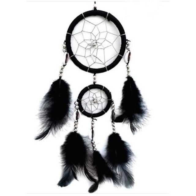 New 4 Colors Beautiful Dreamcatcher Handmade Rattan With Feathers - Black - Ineffable Shop