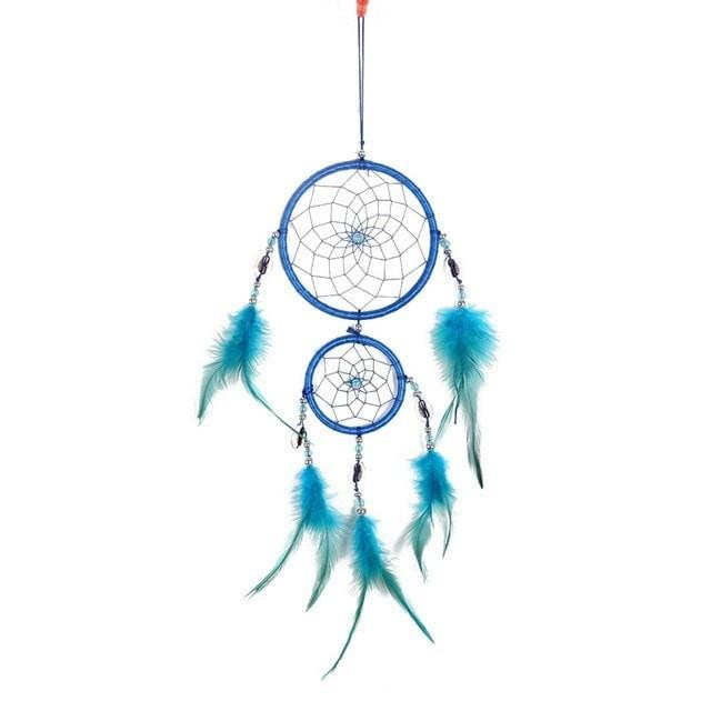 New 4 Colors Beautiful Dreamcatcher Handmade Rattan With Feathers - Blue - Ineffable Shop