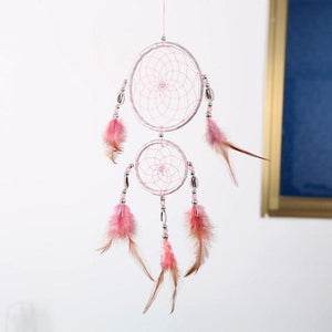 New 4 Colors Beautiful Dreamcatcher Handmade Rattan With Feathers - Pink - Ineffable Shop