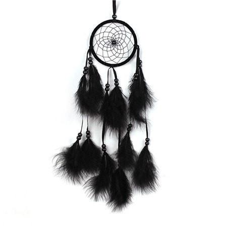 Antique Imitation Enchanted Forest Dreamcatcher Gift Handmade Dream Catcher Net With Feathers Wall Hanging Decoration Ornament - Black - Ineffable Shop