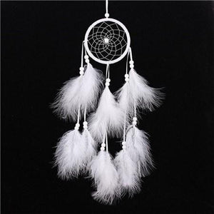 Antique Imitation Enchanted Forest Dreamcatcher Gift Handmade Dream Catcher Net With Feathers Wall Hanging Decoration Ornament - White - Ineffable Shop