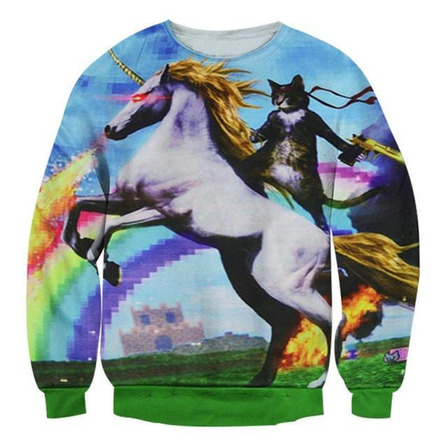 2017 New Fashion Unicorn Cat Sweatshirt