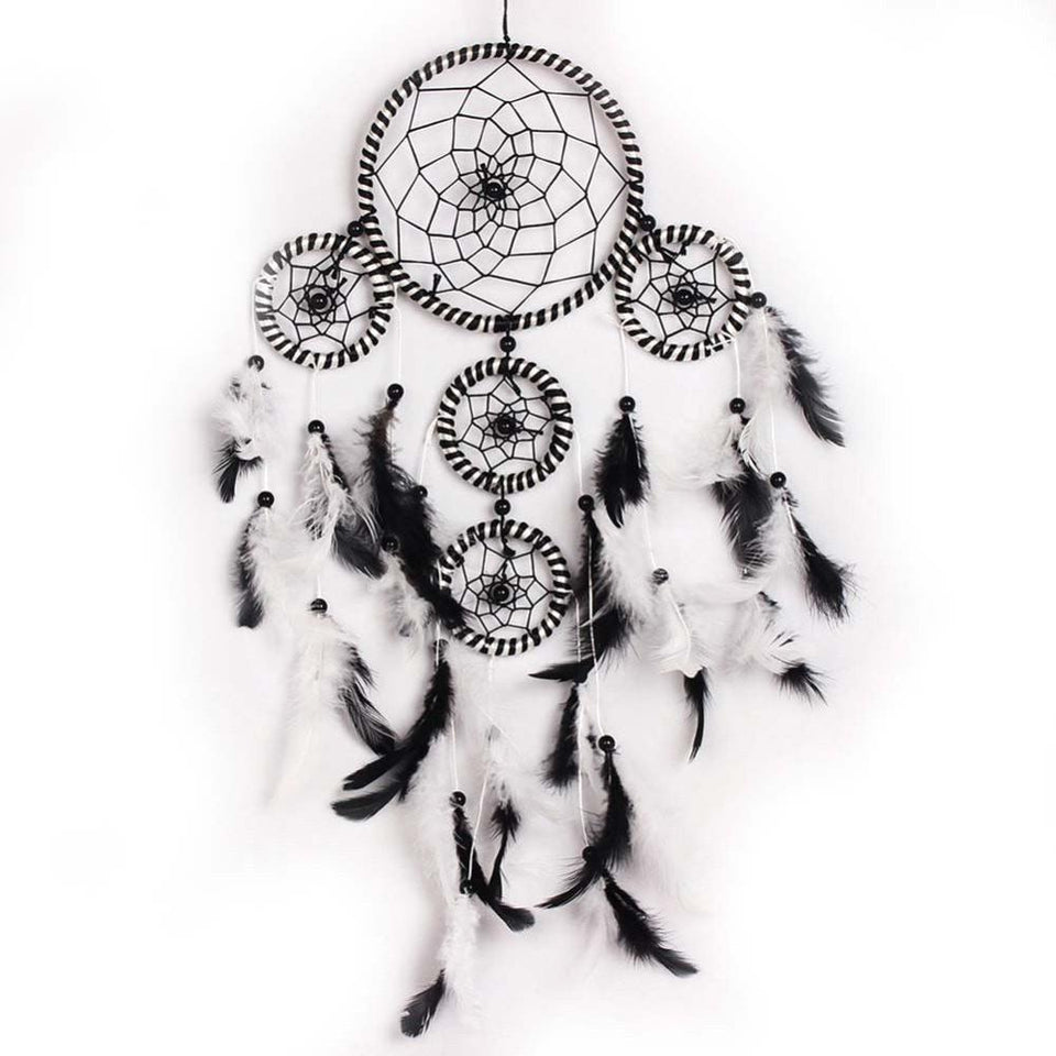 Black White Handmade Dream Catcher Feathers Bead Wall Hanging Decoration Ornament Crafts Moscot Gifts Home Decor - Ineffable Shop