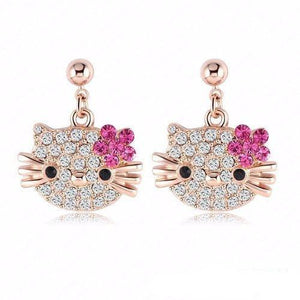 Lovely Cat Flower Stud Earrings - Rose Gold Color Austrian Crystal Kitten Earrings - Pink - Ineffable Shop