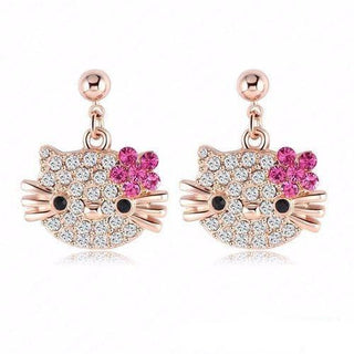 Lovely Cat Flower Stud Earrings - Rose Gold Color Austrian Crystal Kitten Earrings