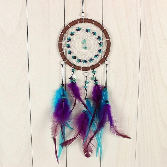 Antique Imitation Dreamcatcher Gift checking Dream Catcher Net With nNtural Stone Feathers Wall Hanging Decoration Ornament - Ineffable Shop