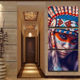 Native American Feathered Canvas Modern Home Wall Decor Canvas Picture Art HD Print Painting Artwork with framed TP-2005 - - Ineffable Shop