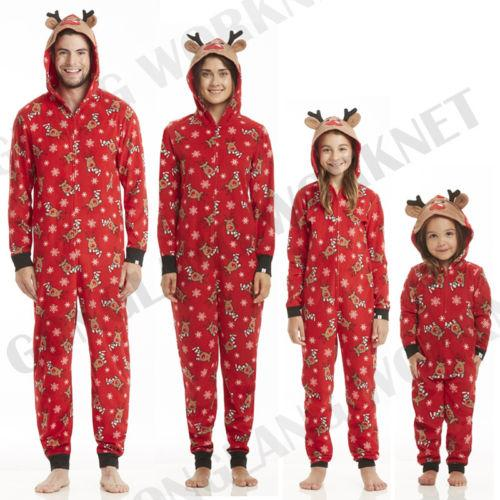Family Matching Christmas Pajamas Romper Jumpsuit Women Men Baby Kids Red Print Xmas Sleepwear Nightwear Hooded Zipper Outfits - Ineffable Shop