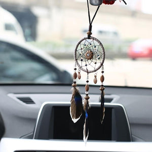 Mini Car Dream Catcher Beaded Natural Feathers Handcraft - - Ineffable Shop