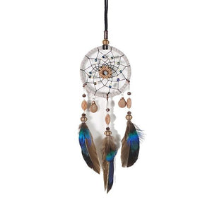 Mini Car Dream Catcher Beaded Natural Feathers Handcraft - Default Title - Ineffable Shop