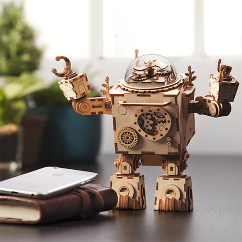 Steampunk Robot Wooden Music Box - Ineffable Shop