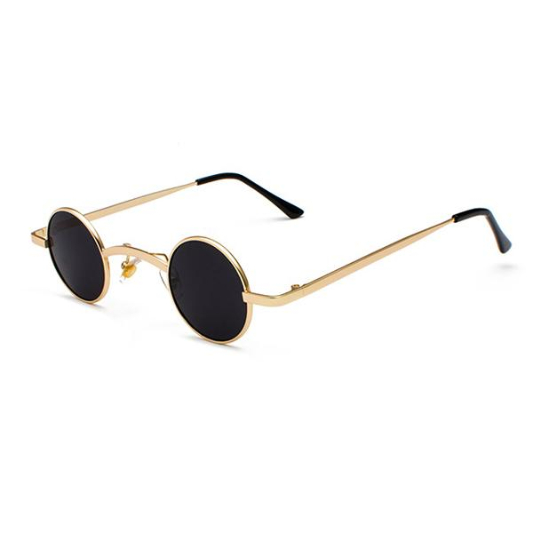 Small Round Steampunk Sunglasses - Gold black - Ineffable Shop
