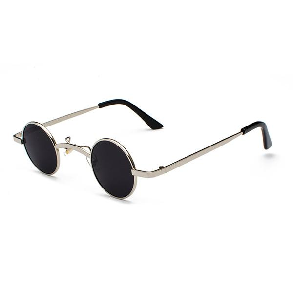 Small Round Steampunk Sunglasses - Silver black - Ineffable Shop