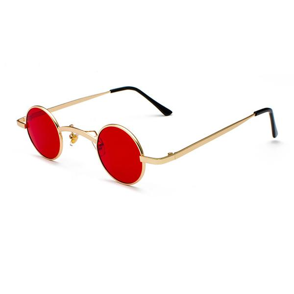 Small Round Steampunk Sunglasses - Gold red - Ineffable Shop