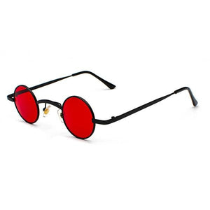 Small Round Steampunk Sunglasses - Black red - Ineffable Shop