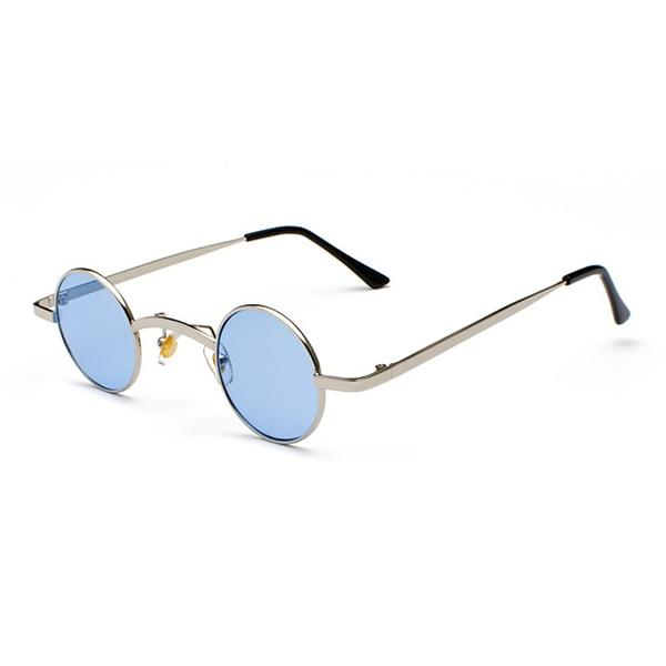 Small Round Steampunk Sunglasses - Silver blue - Ineffable Shop