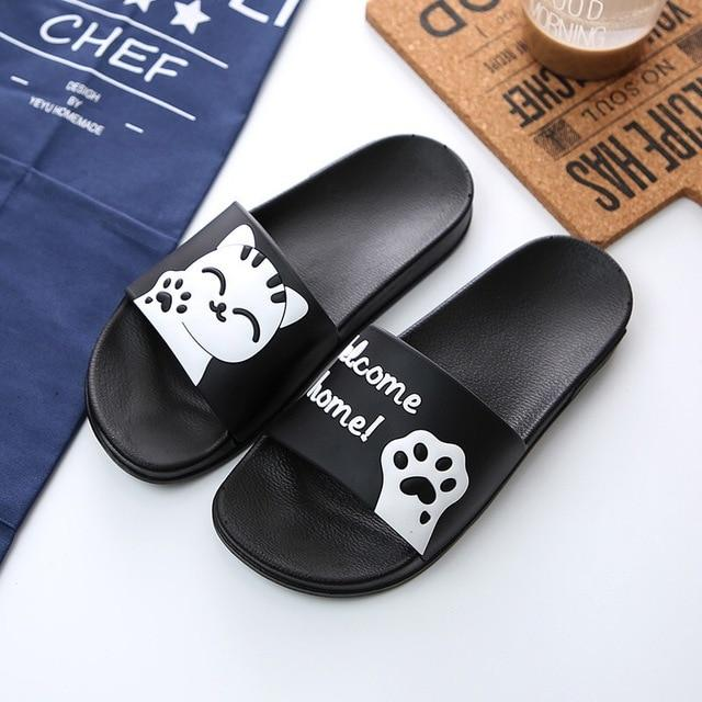 "Cute Cat ""Welcome Home!"" Slippers - Black / US5 (EU36) - Ineffable Shop"
