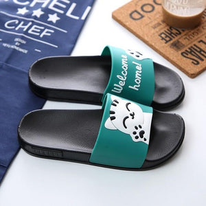"Cute Cat ""Welcome Home!"" Slippers - Green / US5 (EU36) - Ineffable Shop"