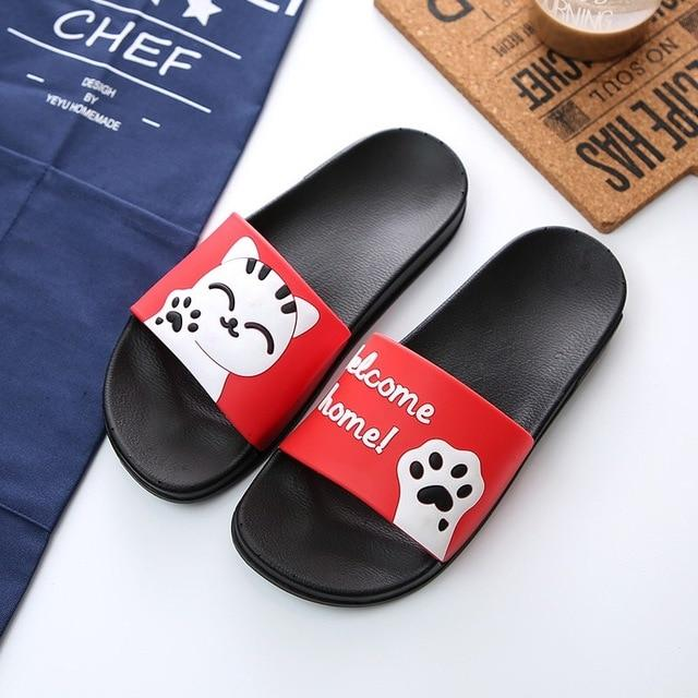 "Cute Cat ""Welcome Home!"" Slippers - Red / US5 (EU36) - Ineffable Shop"