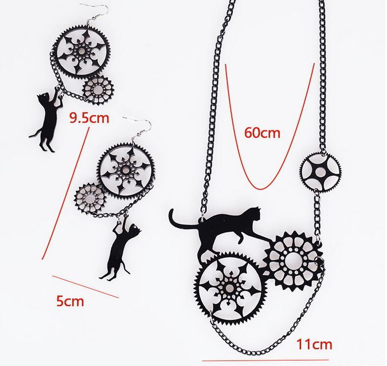 Cat Steampunk Necklace & Earrings - Ineffable Shop