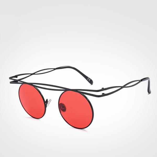 Stunning Steampunk Round Sunglasses - Red - Ineffable Shop
