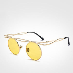 Stunning Steampunk Round Sunglasses - Yellow - Ineffable Shop