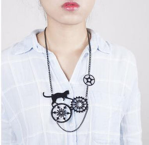 Cat Steampunk Necklace & Earrings - - Ineffable Shop