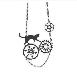 Cat Steampunk Necklace & Earrings - Necklace / 60cm - Ineffable Shop