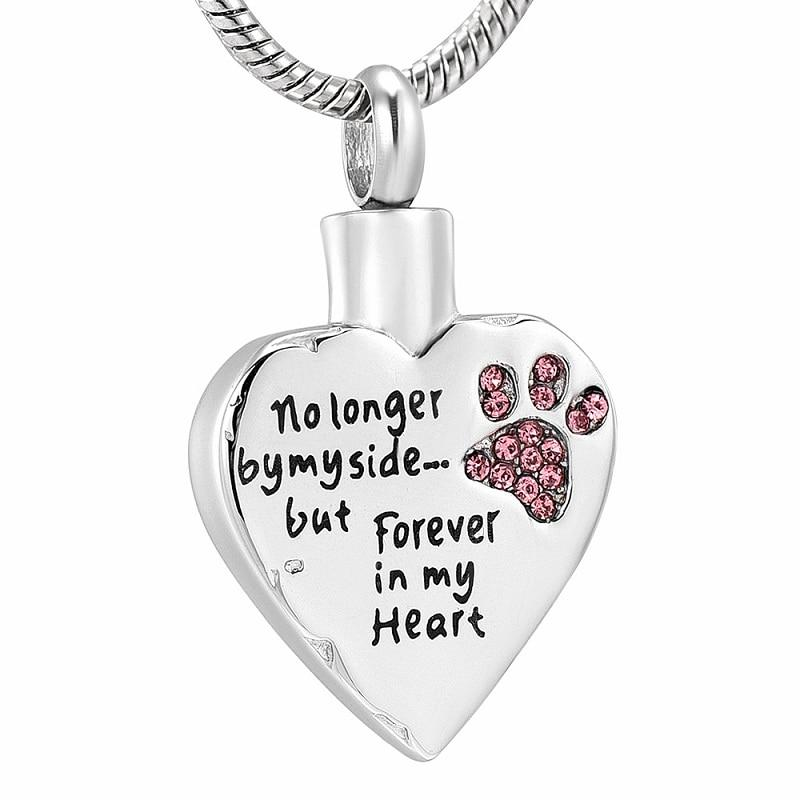 Pet Urn Necklace - No Longer by My Side... But Forever in My Heart - Pink / Stainless Steel - Ineffable Shop