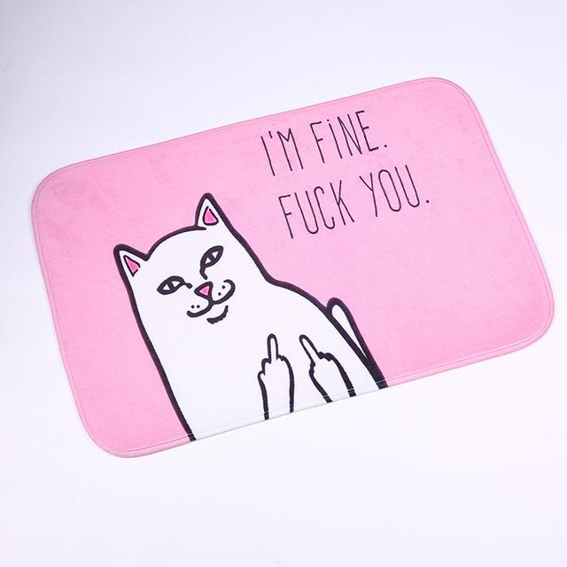 Funny Middle Finger Cat Bathroom Mat - Pink / 400MMx600MM - Ineffable Shop