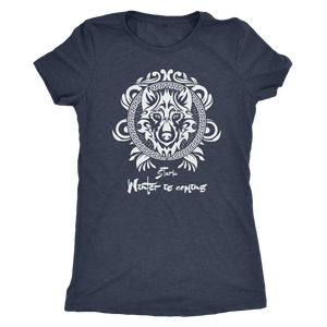 GOT House Stark Vintage Style - Next Level Womens Triblend - Next Level Womens Triblend / Vintage Navy / S - Ineffable Shop