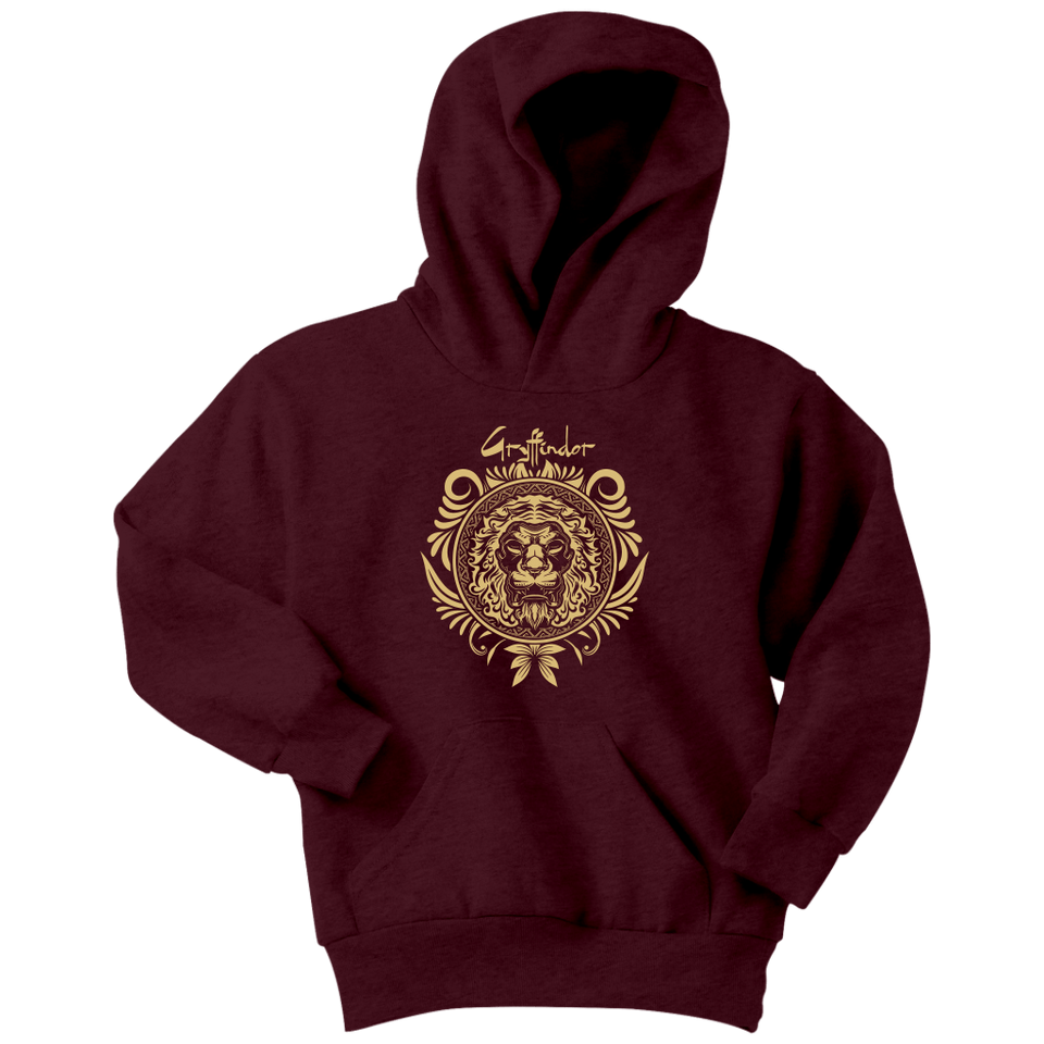 Harry Potter Vintage Gryffindor Badge Youth Hoodie - Youth Hoodie / Maroon / XS - Ineffable Shop