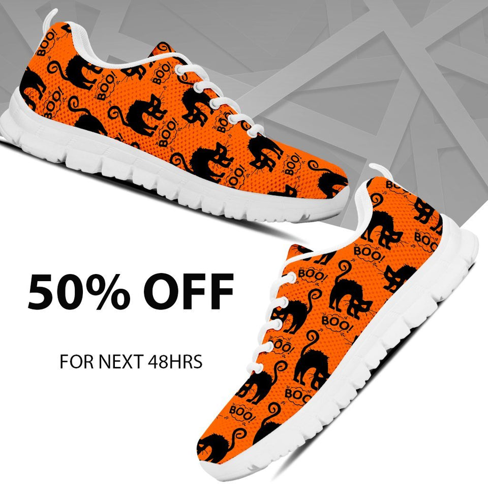 Halloween Black Cat Men's Running Shoes HLW021 - Ineffable Shop