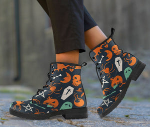 Halloween Leather Boots Design HLW005 - Women's Leather Boots - Black - Halloween 1 / US5 (EU35) - Ineffable Shop