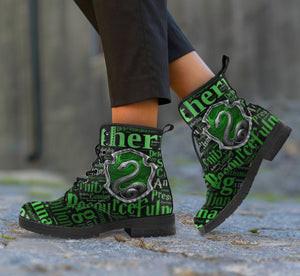 Harry Potter 4 House Women's Leather Boots Design HP0133 - Slytherin / US5 (EU35) - Ineffable Shop