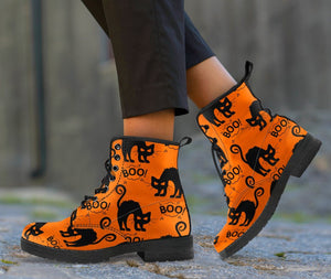 Happy Halloween Black Cat Leather Boots HLW006 - Ineffable Shop
