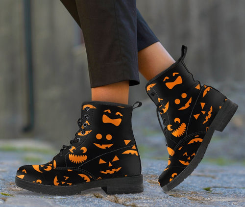 Halloween Horror Pumpkin Leather Boots HLW002 - Women's Leather Boots - Black - Halloween 1 / US5 (EU35) - Ineffable Shop