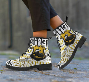 Harry Potter 4 House Women's Leather Boots Design HP0133 - Hufflepuff / US5 (EU35) - Ineffable Shop