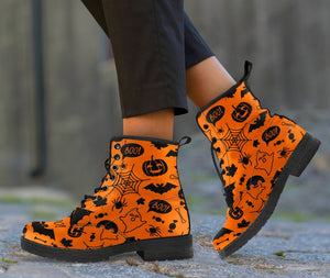 Happy Halloween Leather Boots HLW003 - Women's Leather Boots - Black - Halloween 1 / US5 (EU35) - Ineffable Shop