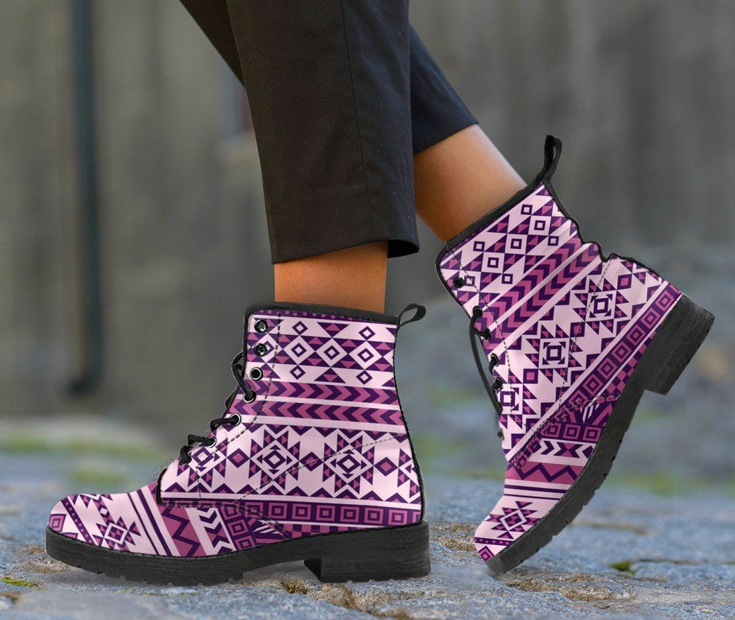 Native American Purple Pattern Leather Boots NT016 - Women's Leather Boots - Black - Native 1 / US5 (EU35) - Ineffable Shop