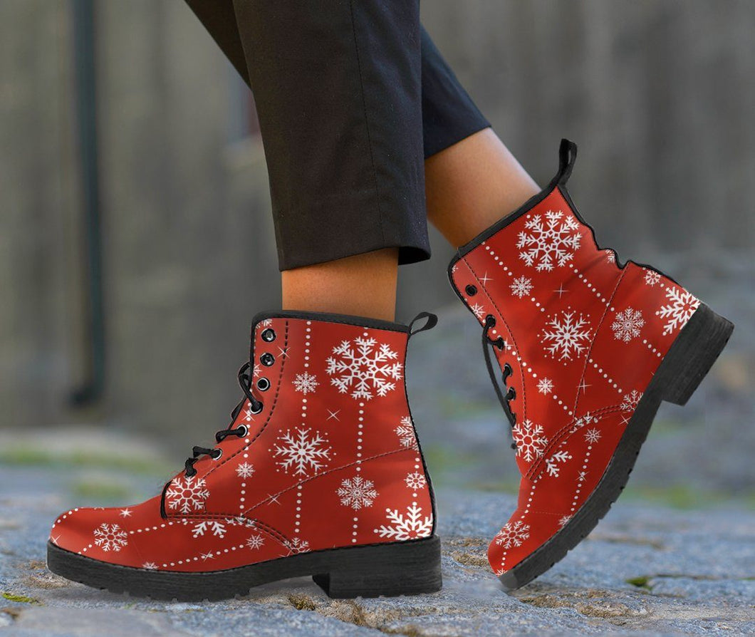 Christmas Red Leather Boots - Women's Leather Boots - Black - Christmas 1 / US5 (EU35) - Ineffable Shop