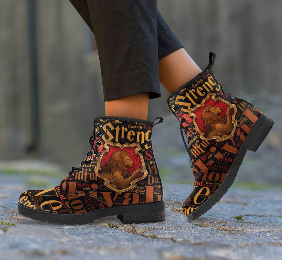 Harry Potter 4 House Women's Leather Boots Design HP0133 - Gryffindor / US5 (EU35) - Ineffable Shop