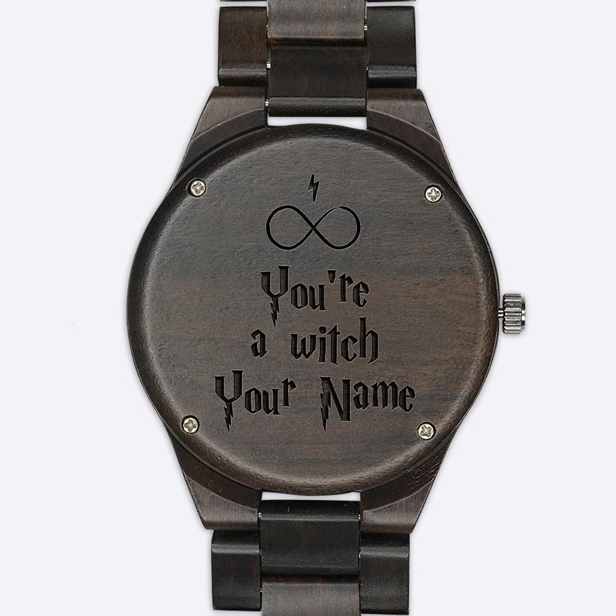 Custom Name - Slytherin Wood Watches - HCW0002 - Engraved - Ineffable Shop