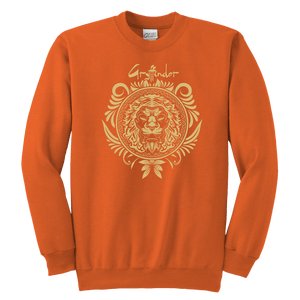 Harry Potter Vintage Gryffindor Badge Youth Crewneck Sweatshirt - Youth Crewneck Sweatshirt / Neon Orange / XS - Ineffable Shop