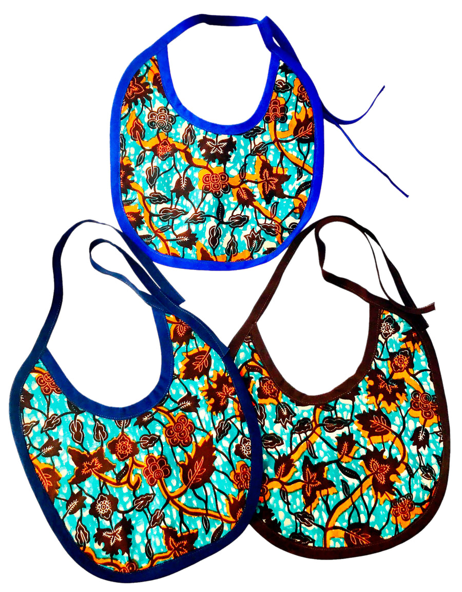 Teal+Brown Vine Ankara Bib