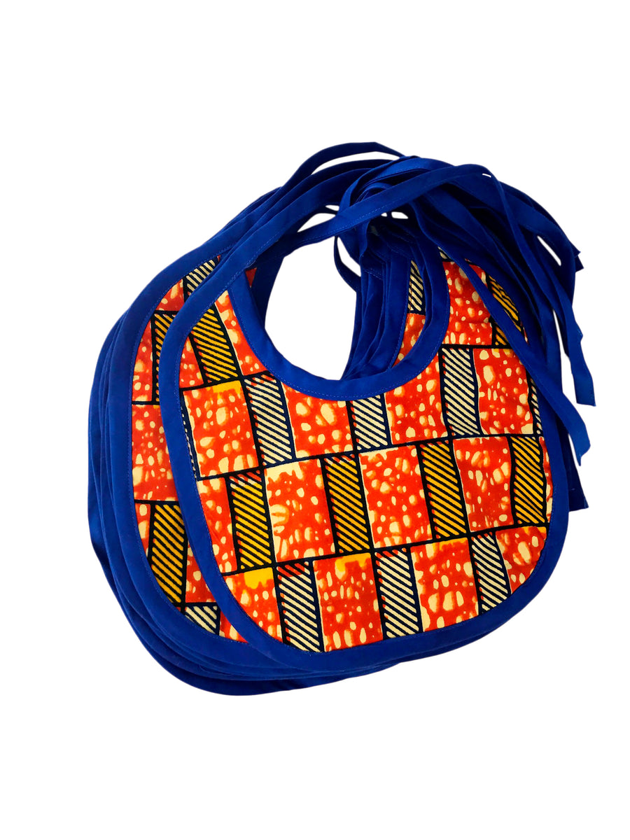 Orange +Blue Ankara Bib