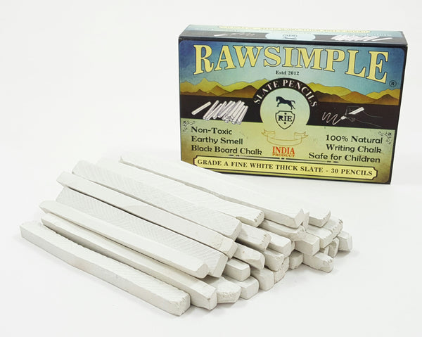 Rawsimple White Slate Pencils Thick 30 Pencils