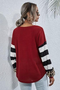 STRIPED LEOPARD LONG SLEEVE TOP
