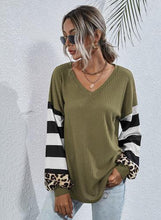 Load image into Gallery viewer, STRIPED LEOPARD LONG SLEEVE TOP