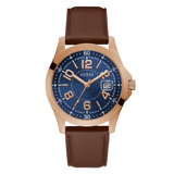 Guess - GW0251G3 - Rose Gold-Tone And Blue Analog Watch | Guess - GW0251G3 - Montre analogique aux tons rose doré et bleu